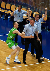 Klemen Prepelic of Slovenia, Dalibor Damjanovic, assistant coach of Slovenia and Gasper Kolman celebrate after winning the basketball match between National teams of Turkey and Slovenia in Qualifying Round of U20 Men European Championship Slovenia 2012, on July 17, 2012 in Domzale, Slovenia. Slovenia defeated Turkey 72-71 in last second of the game. (Photo by Vid Ponikvar / Sportida.com)