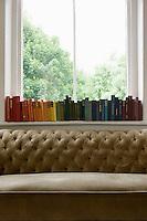 Row of books on windowsill