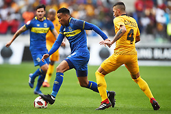 Cape Town-180915-  Cape Town City striker Matthew Rusike challenged by Kaizer Chiefs defender Daniel Cardoso in the ABSA Premiership clash at the cape Town Stadium.City are trying to keep winning their home games and their position on the log.Photographs:Phando Jikelo/African News Agency/ANA
