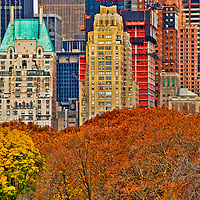 View from Central Park to Central Park South in the Fall. Manhattan, New York City, USA