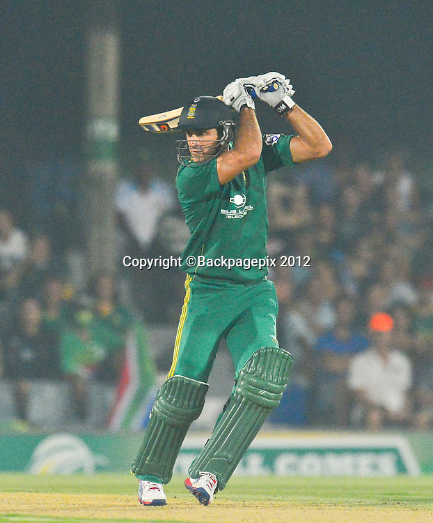 Faf du Plessis of South Africa during the 2012 KFC T20 International between South Africa and New Zealand at Buffalo Park in East London, South Africa on December 23, 2012 ©Barry Aldworth/BackpagePix