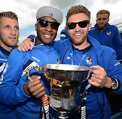 Bristol Rovers' Ellis Harrison and Bristol Rovers' Matt Taylor celebrate with the Vanarama Conference Play-Off Final trophy - Photo mandatory by-line: Dougie Allward/JMP - Mobile: 07966 386802 - 25/05/2015 - SPORT - Football - Bristol - Bristol Rovers Bus Tour