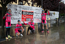Bizkaia-Durango Cycling Team riders stand next to sign, made by suppoerters before Stage 2 of the Emakumeen Bira - a 90.8 km road race, starting and finishing in Markina Xemein on May 18, 2017, in Basque Country, Spain. (Photo by Balint Hamvas/Velofocus)