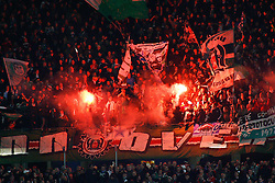 20.10.2011, AWD-Arena, Hannover, GER, UEFA EL,Gruppe B, Hannover 96 (GER) vs FC Kopenhagen (DEN), im Bild Die Hannoveraner Fankurve brennt Feuerwerk ab .// during UEFA Europa League group B match between Hannover 96 (GER) and FC Kopenhagen (DEN) at AWD-Arena Stadium, Hannover, Germany on 20/10/2011.  EXPA Pictures © 2011, PhotoCredit: EXPA/ nph/  Schrader       ****** out of GER / CRO  / BEL ******