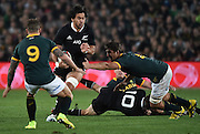 JOHANNESBURG, South Africa, 04 October 2014 : Steven Luatua of the All Blacks gets across the advantage line with Eben Etzebeth and Francois Hougaard (9) of the Springboks making the tackle during the Castle Lager Rugby Championship test match between SOUTH AFRICA and NEW ZEALAND at ELLIS PARK in Johannesburg, South Africa on 04 October 2014. <br /> The Springboks won 27-25 but the All Blacks successfully defended the 2014 Championship trophy.<br /> <br /> © Anton de Villiers / SASPA