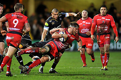 Duane Vermeulen of Toulon is tackled to ground - Mandatory byline: Patrick Khachfe/JMP - 07966 386802 - 23/01/2016 - RUGBY UNION - The Recreation Ground - Bath, England - Bath Rugby v RC Toulon - European Rugby Champions Cup.