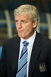 BIRMINGHAM, ENGLAND - Monday, October 5, 2009: Manchester City's manager Mark Hughes during the Premiership match against Aston Villa at Villa Park. (Pic by David Rawcliffe/Propaganda)