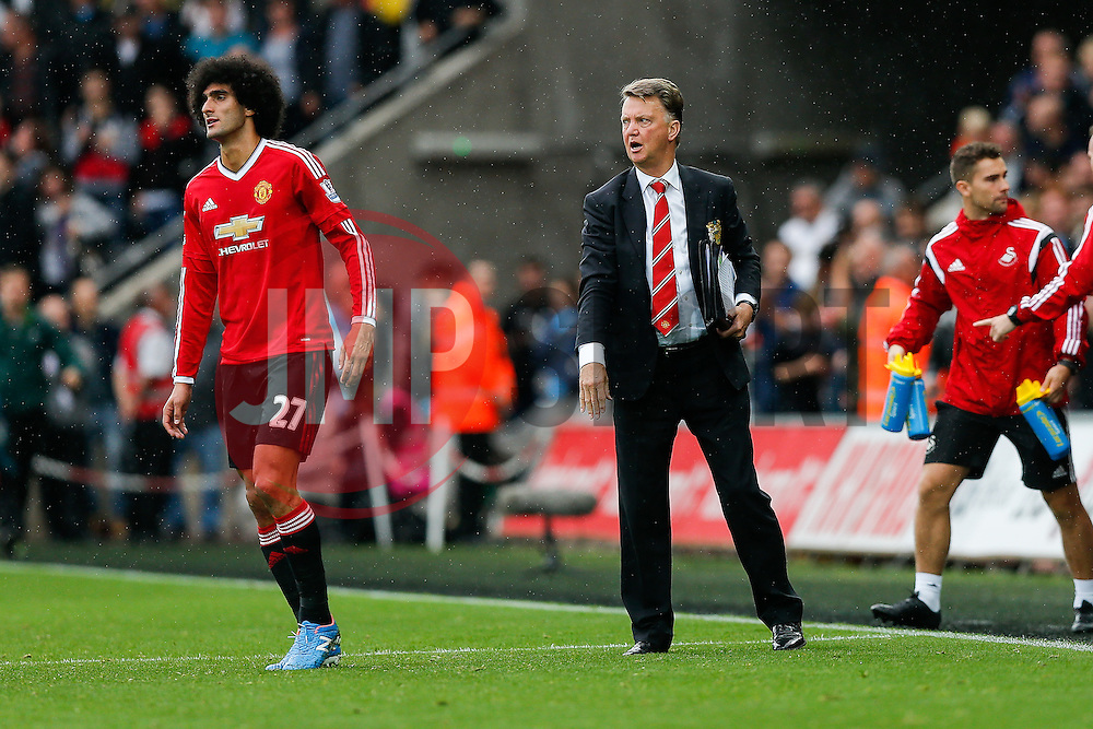 Manchester United Manager Louis van Gaal sends Marouane Fellaini back on to thank the away fans after Swansea City win the match 2-1 - Mandatory byline: Rogan Thomson/JMP - 07966 386802 - 30/08/2015 - FOOTBALL - Liberty Stadium - Swansea, Wales - Swansea City v Manchester United - Barclays Premier League.