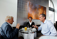 Soccer expert Erich VOGEL (L) of Switzerland is pictured during an interview with Blick's Head of Sport Felix Bingesser (R) and journalist Max Kern (C) held at the Gran Cafe Motta on Limmatquai in Zurich, Switzerland, Wednesday, Sept. 28, 2011. (Photo by Patrick B. Kraemer / MAGICPBK)