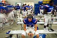 Folsom Bulldogs Cj Hutton (3), looks at his room in the locker room before the game as the Folsom Bulldogs host the Jesuit Marauders,  Friday Sep 1, 2017. The Game was moved to Folsom from Jesuit due to the high temperatures. <br /> photo by Brian Baer
