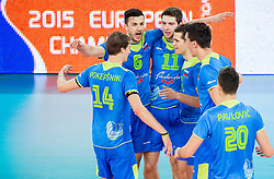 Players of Slovenia celebrate during volleyball match between National teams of Slovenia and Latvia in Qualifications for 2015 CEV Volleyball European Championship - Men on May 25, 2014 in Arena Stozice, Ljubljana, Slovenia. Photo by Vid Ponikvar / Sportida,