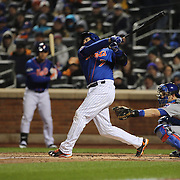 Travis d'Arnaud, New York Mets, batting during the MLB NLCS Playoffs game two, Chicago Cubs vs New York Mets at Citi Field, Queens, New York. USA. 18th October 2015. Photo Tim Clayton