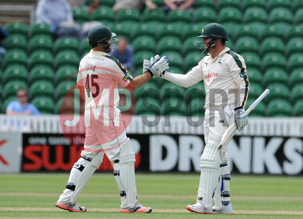 Nottinghamshire's Brendan Taylor celebrates his century. - Photo mandatory by-line: Harry Trump/JMP - Mobile: 07966 386802 - 14/06/15 - SPORT - CRICKET - LVCC County Championship - Division One - Day One - Somerset v Nottinghamshire - The County Ground, Taunton, England.
