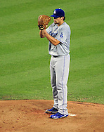 Aug. 6 2011; Phoenix, AZ, USA; Los Angeles Dodgers pitcher Nathan Eovaldi (50) delivers a pitch during the first inning against the Arizona Diamondbacks at Chase Field.  Mandatory Credit: Jennifer Stewart-US PRESSWIRE..
