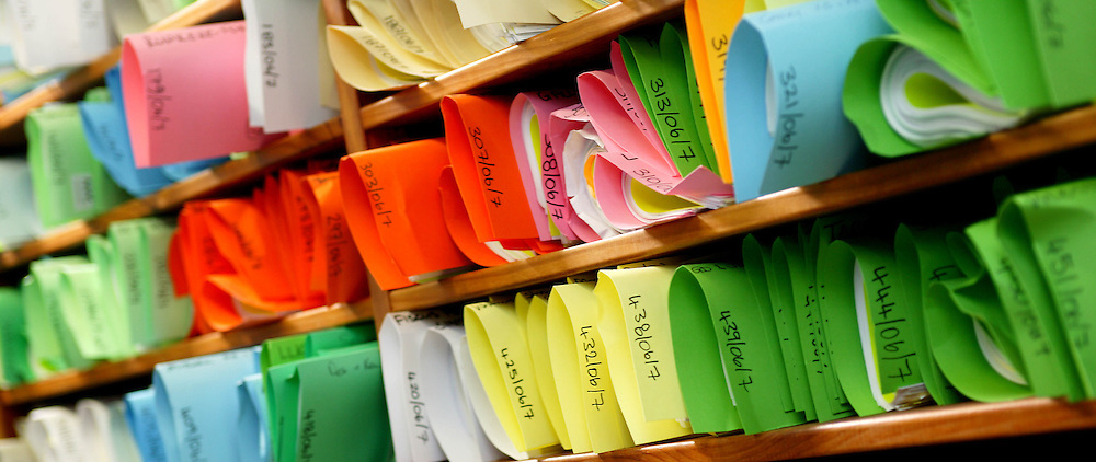 Colourful files assist instant identification in a busy inner city office, New Plymouth, New Zealand, April 11, 2004. Credit:SNPA / Rob Tucker