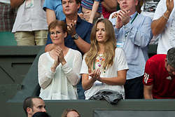 LONDON, ENGLAND - Saturday, June 26, 2010: Judith (Judy) Murray, mother of Andy Murray (GBR), and girlfriend Kim Sears celebrate after he wins the Gentlemen's Singles 3rd Round on day six of the Wimbledon Lawn Tennis Championships at the All England Lawn Tennis and Croquet Club. (Pic by David Rawcliffe/Propaganda)