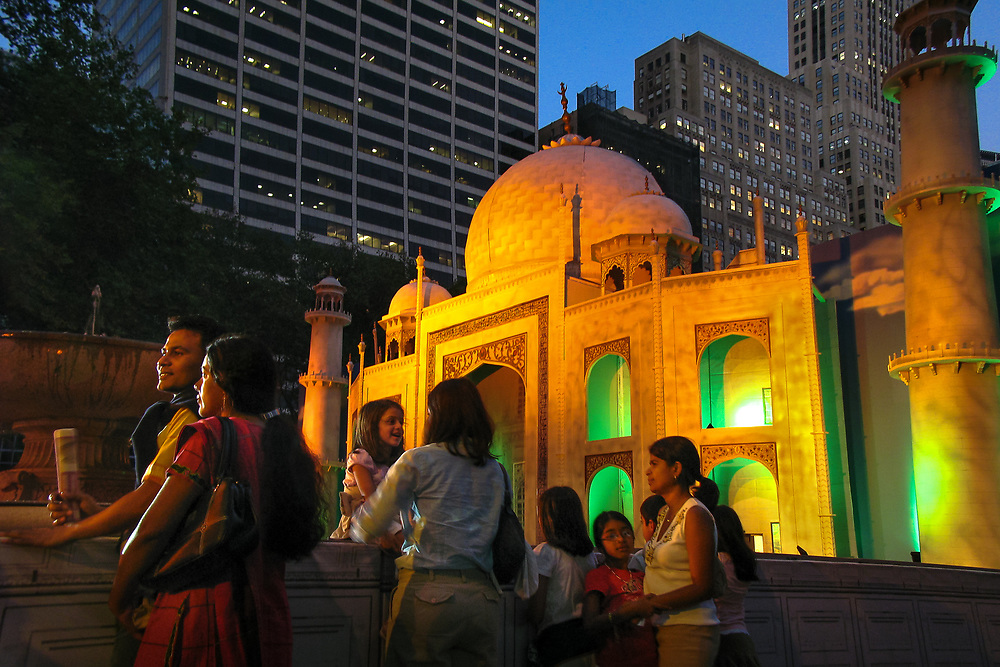 Manhattan, New York: A replica of the Taj Mahal stands in Bryant Park as New York celebrates India's 60th anniversary of independence