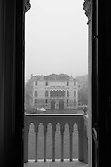 Italy. Venice. Elevated view. Venise San the grand canal in the fog - view from Stern hotel - palacio Moro -on Grand Canal  Venice - Italy   /  le grand canal dans la brume - vu de l hotel  Stern - palacio Moro - sur le grand canal  Venise - Italie