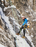 Nathan Smith makes the first winter ascent of the first pitch of Bone Collector, M5, WI5, III, Little Cottonwood Canyon, Utah.