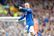 a battle scarred Everton striker Wayne Rooney (10) tells the officials what he thinks of the decision during the Premier League match between Everton and Bournemouth at Goodison Park, Liverpool, England on 23 September 2017. Photo by Craig Galloway.