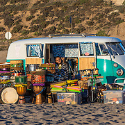 Drums outside Volkswagen minivan. Hermosa Beach, California.