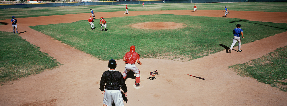 Baseball players on playing field