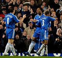 Photo: Ed Godden.<br />Chelsea v Fulham. The Barclays Premiership. 30/12/2006.<br />Chelsea's (C) celebrates scoring his goal with team mates Frank Lampard and Ashley Cole.