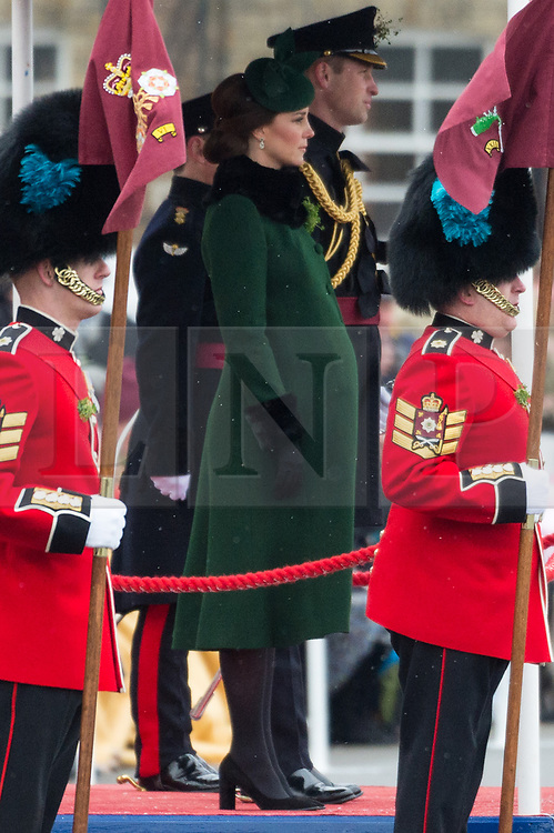 © Licensed to London News Pictures. 17/03/2018. London, UK. The DUKE OF CAMBRIDGE and DUCHESS OF CAMBRIDGE visit the 1st Battalion Irish Guards at the St Patrick's Day parade. Photo credit: Ray Tang/LNP