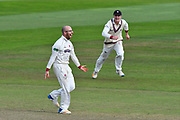 Wicket and win - Jack Leach of Somerset celebrates taking the final wicket of James Harris of Middlesex to beat Middlesex and secure survival in division 1 of the Specsavers County Champ Div 1 match between Somerset County Cricket Club and Middlesex County Cricket Club at the Cooper Associates County Ground, Taunton, United Kingdom on 28 September 2017. Photo by Graham Hunt.
