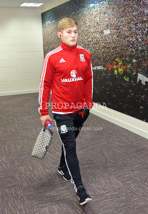 CARDIFF, WALES - Friday, November 13, 2015: Wales' George Williams arrives at the stadium ahead of the International Friendly match against the Netherlands at the Cardiff City Stadium. (Pic by David Rawcliffe/Propaganda)