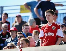 A Bristol City fan waits to watch his team  - Photo mandatory by-line: Seb Daly/JMP - Tel: Mobile: 07966 386802 31/08/2013 - SPORT - FOOTBALL -  Priestfield Stadium - Gillingham - Gillingham Town V Bristol City - Sky Bet League One