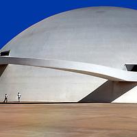South America, Brazil, Brasilia.  The National Museum of the Republic, designed by architect Oscar Neimeyer, in Brasilia, a UNESCO World Heritage Site.