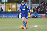 AFC Wimbledon defender Steve Seddon (15) dribbling during the EFL Sky Bet League 1 match between AFC Wimbledon and Burton Albion at the Cherry Red Records Stadium, Kingston, England on 9 February 2019.