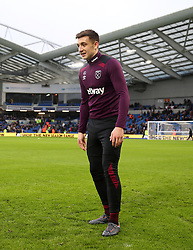 """West Ham United's Jordan Hugill warming up  during the Premier League match at the AMEX Stadium, Brighton. PRESS ASSOCIATION Photo. Picture date: Saturday February 3, 2018. See PA story SOCCER Brighton. Photo credit should read: Steven Paston/PA Wire. RESTRICTIONS: EDITORIAL USE ONLY No use with unauthorised audio, video, data, fixture lists, club/league logos or """"live"""" services. Online in-match use limited to 75 images, no video emulation. No use in betting, games or single club/league/player publications."""