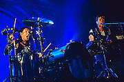 Matt and Kim performing live at the Warfield concert venue in San Francisco, CA on May 2, 2015