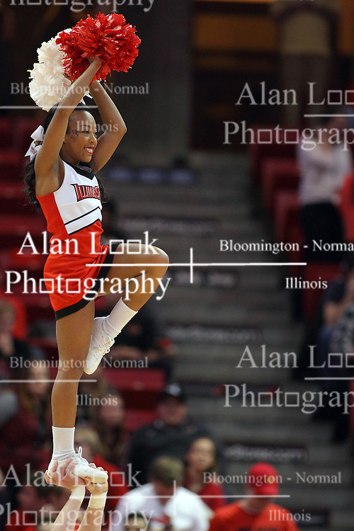 17 February 2016: Redbird cheerleaders during the Illinois State Redbirds v Indiana State Sycamores at Redbird Arena in Normal Illinois (Photo by Alan Look)
