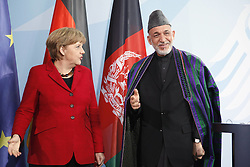 Bildnummer: 57994136..Afghanistan President Hamid Karzai with Chancellor Angela Merkel CDU hold a press conference in Federal Chancellery in Berlin, Wednesday May 16, 2012. Photo By imago/I-Images