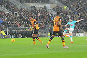 Derby County's Jacob Butterfield scores his second goal to 2-0 up during the Sky Bet Championship match between Hull City and Derby County at the KC Stadium, Kingston upon Hull, England on 27 November 2015. Photo by Ian Lyall.