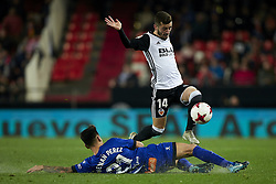 January 17, 2018 - Valencia, Valencia, Spain - Jose Luis Gaya (R) of Valencia CF competes for the ball with Hernan Perez of Deportivo Alaves  during the Copa del Rey quarter-final first leg  game between Valencia CF and Deportivo Alaves at Mestalla stadium on January 17, 2018 in Valencia, Spain  (Credit Image: © David Aliaga/NurPhoto via ZUMA Press)