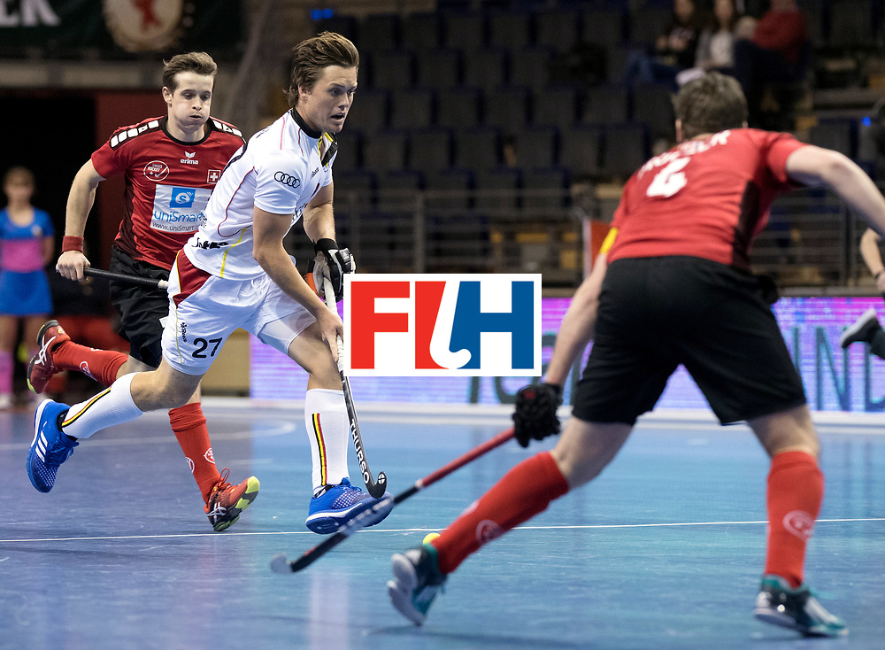 BERLIN - Indoor Hockey World Cup<br /> Men: Switzerland - Belgium<br /> foto: Tom Boon <br /> WORLDSPORTPICS COPYRIGHT FRANK UIJLENBROEK