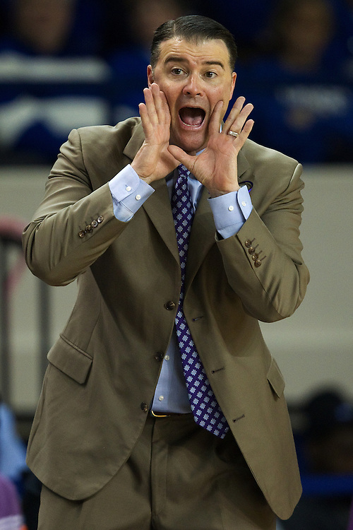 UK head coach Matthew Mitchell encourages his team in the first half. The University of Kentucky Women hosted Mississippi State University Thursday, Jan. 17, 2013 at Memorial Coliseum in Lexington. Photo by Jonathan Palmer