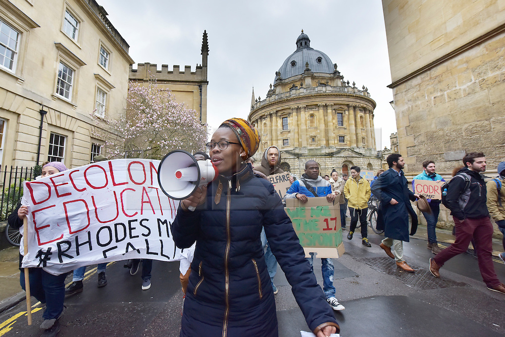 © Licensed to London News Pictures. 09/03/2016 The demo passes through Radcliffe Square in Oxford. Speeches and songs. Rhodes must fall demonstration and march through Oxford. Protest outside Oriel College followed by a march through the streets of Oxford. Photo credit : MARK HEMSWORTH/LNP