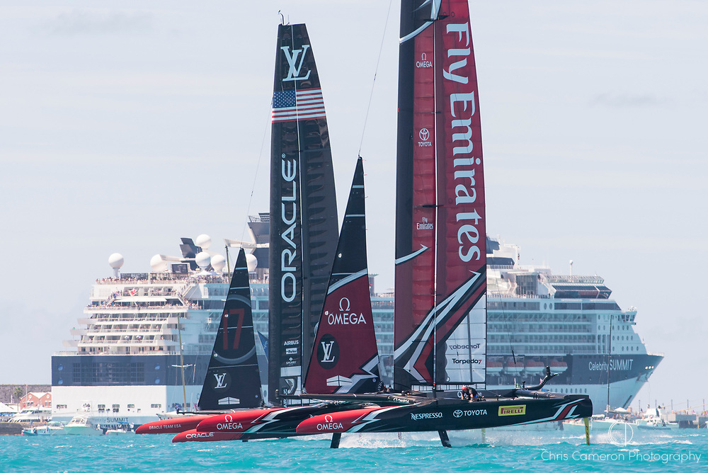 The Great Sound, Bermuda, 25th June 2017. Emirates Team New Zealand win the start of race eight against Oracle Team USA and lead all the way around the course. Day four of racing in the America's Cup presented by Louis Vuitton.