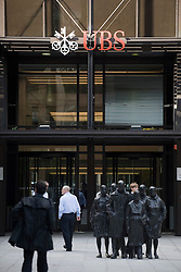 © licensed to London News Pictures. 15/09/2011. London, UK. The london offices of Swiss bank UBS pictured today (15/09/2011). A 31-year old man has been arrested by City of London police in connection with rogue trading that has cost UBS, the Swiss banking giant, an estimated $2bn (£1.3bn). Photo credit: Ben Cawthra/LNP
