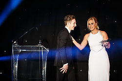 Connor Hall of Bristol Sport Racing is welcomed on stage by Lisa Knights at Bristol Sport's Annual Gala Dinner at Ashton Gate Stadium - Mandatory byline: Rogan Thomson/JMP - 08/12/2015 - SPORT - Ashton Gate Stadium - Bristol, England.