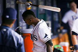 May 9, 2017 - St. Petersburg, Florida, U.S. - WILL VRAGOVIC       Times.Tampa Bay Rays shortstop Tim Beckham (1) slams his bat in the dugout after striking out looking to end the game between the Kansas City Royals and the Tampa Bay Rays at Tropicana Field in St. Petersburg, Fla. on Tuesday, May 9, 2017. The Kansas City Royals beat the Tampa Bay Rays 7-6. (Credit Image: © Will Vragovic/Tampa Bay Times via ZUMA Wire)