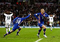 Photo: Richard Lane/Sportsbeat Images.<br />England v Croatia. UEFA European Championships Qualifying. 21/11/2007. <br />Croatia's Mladen Petric (21) celebraes his goal.