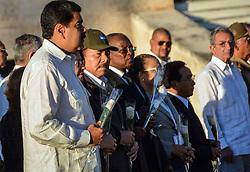 December 4, 2016 - Santiago, CUBA - Venezuela's President Nicolas Maduro, left, and Nicaragua's President Daniel Ortega attend the burial ceremony of the ashes of the late Fidel Castro at the Santa Ifigenia cemetery in Santiago, Cuba, Sunday December 4, 2016. (Credit Image: © Prensa Internacional via ZUMA Wire)