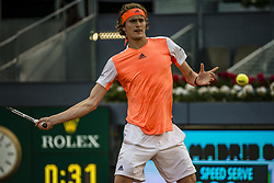 May 9, 2017 - Madrid, Madrid, Spain - ALEXANDER ZVEREV (GER) returns the ball to Fernando Verdasco (ESP) in round 1 of the 'Mutua Madrid Open' 2017. Zverev won 7:5, 6:3 (Credit Image: © Matthias Oesterle via ZUMA Wire)