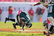 Philadelphia Eagles running back LeSean McCoy (25) flips upside down during the Eagles 31-20 win over the Tampa Bay Buccaneers on Oct. 13, 2013 in Tampa, Florida. <br /> <br /> ©2013 Scott A. Miller